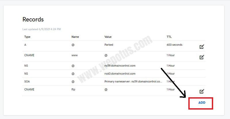 cara menambahkan DNS Record di Godaddy