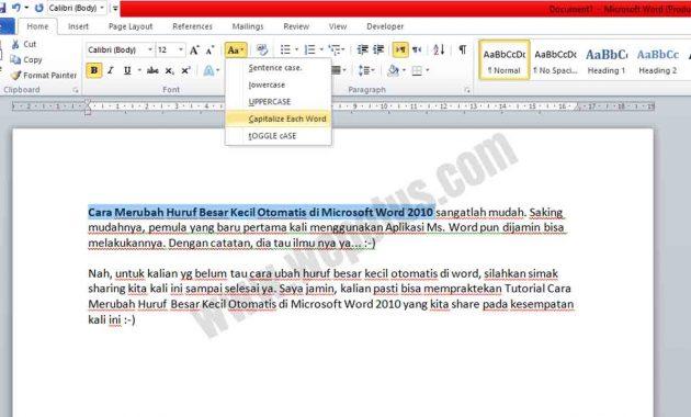 cara merubah huruf kecil menjadi huruf besar di word 2010